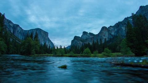 Morning of Yosemite Valley Stock Video Footage