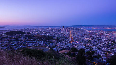 Day to Night Time Lapse of San Francisco Stock Video Footage