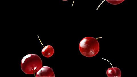 cherry falling down black Stock Video Footage