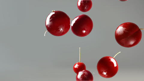 cherry falling down grey Animation
