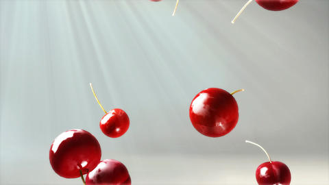 cherry falling down volume light flare Stock Video Footage