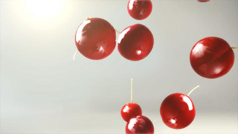 cherry falling down with glow flare Animation