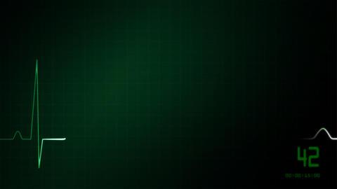 EKG monitor green love heart Stock Video Footage