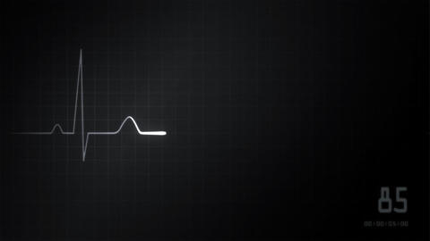 heart EKG monitor grey Stock Video Footage