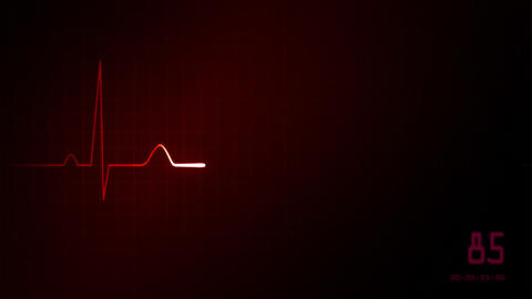 heart on an EKG monitor red Stock Video Footage