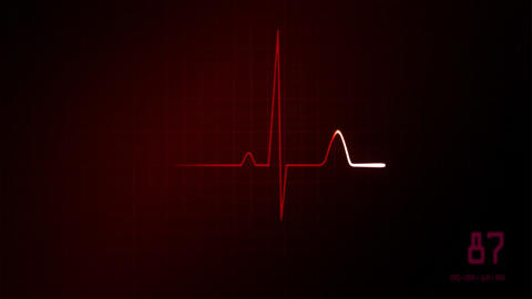 heart on an EKG monitor red Animation