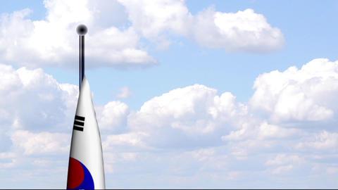 Animated Flag of South Korea / Südkorea Stock Video Footage