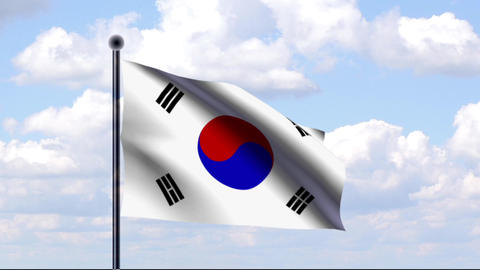 Animated Flag of South Korea / Südkorea Stock Video Footage