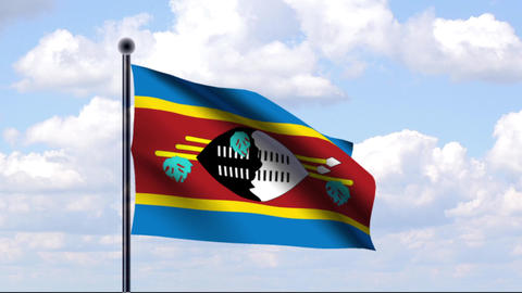 Animated Flag of Swaziland / Swasiland Stock Video Footage