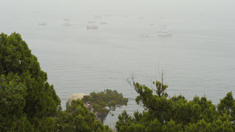Boats on the sea in the fog Footage