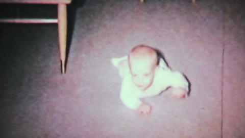 Baby Boy Learning To Crawl 1964 Vintage 8mm Film stock footage