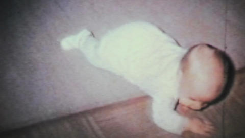 Baby Boy Learning To Crawl 1964 Vintage 8mm film Stock Video Footage