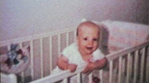 Cute Baby Boy In His Crib 1964 Vintage 8mm film Live Action