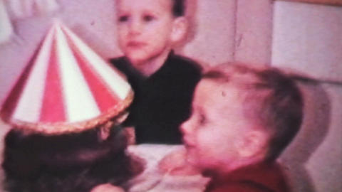 Boy Celebrates Birthday With Cake-1966 Vintage 8mm Footage