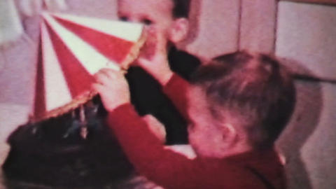 Boy Celebrates Birthday With Cake-1966 Vintage 8mm Stock Video Footage