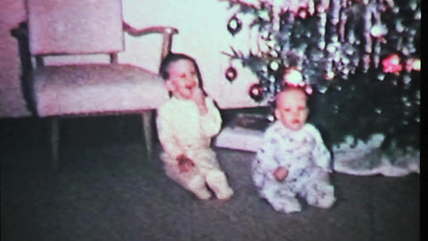Boys Play By Christmas Tree-1965 Vintage 8mm film Stock Video Footage