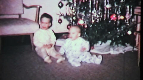 Boys Play By Christmas Tree-1965 Vintage 8mm Film stock footage