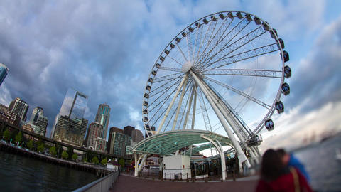 Extreme Wide Shot of Ferris Wheel by the Ocean Stock Video Footage