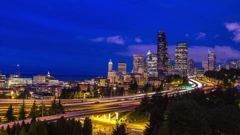 Twilight Freeway Traffic Time Lapse in Seattle Stock Video Footage
