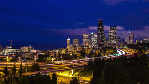Twilight Freeway Traffic Time Lapse in Seattle Stock Video Footage
