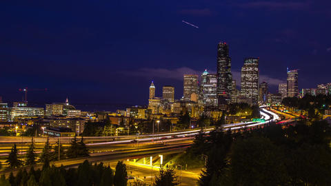 Twilight Freeway Traffic Time Lapse in Seattle Footage