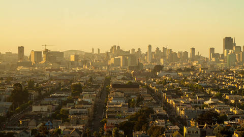Sunset time of San Francisco Downtown Stock Video Footage