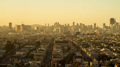 Sunset time of San Francisco Downtown Footage