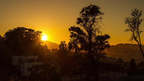 Sunset Time by Residential Area in San Francisco Stock Video Footage