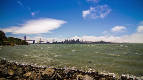 City of San Francisco Downtown and Bay Bridge Stock Video Footage
