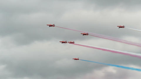 Red Arrows formation roll 10979 Stock Video Footage