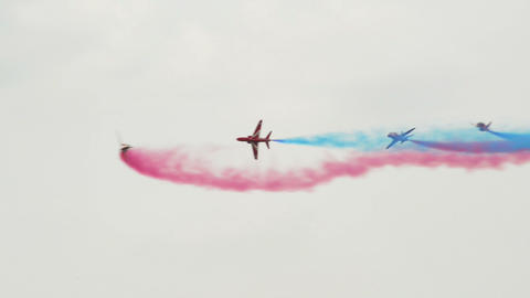 Red Arrows four jets crossing 10987 Footage