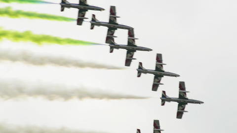 Frecce Tricolori fomation painting the sky 10999 Stock Video Footage