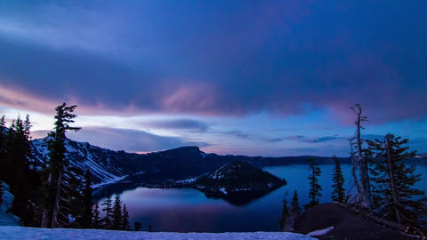 Sunset to Night of Crater Lake Footage