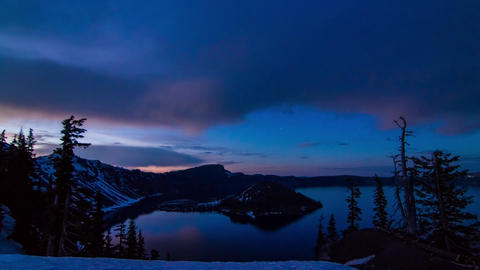 Sunset to Night of Crater Lake Stock Video Footage