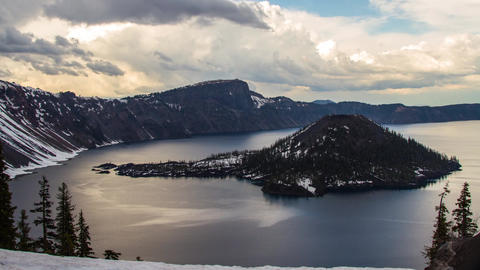 Clouds Formation at Crater Lake Stock Video Footage