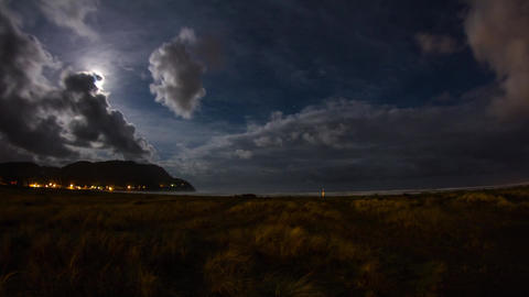 Extreme Wide Shot of Night Clouds at Seaside Stock Video Footage