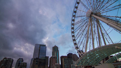 Tilt Up Shot of Ferris Wheel on a Cloudy Afternoon Stock Video Footage