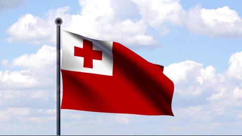 Animated Flag of Tonga Stock Video Footage