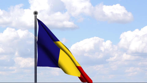 Animated Flag of Chad / Tschad Stock Video Footage