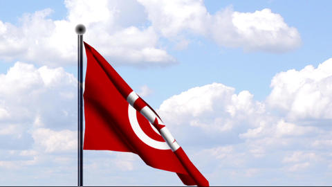 Animated Flag of Tunisia / Tunesien Stock Video Footage