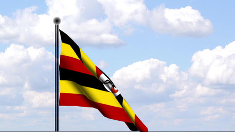 Animated Flag of Uganda Stock Video Footage