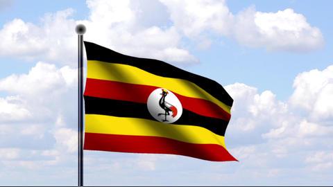 Animated Flag of Uganda Stock Video Footage