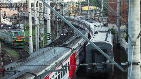 passing trains Stock Video Footage