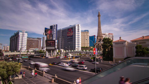 Day Traffic of People and Automobile on The Strip Footage