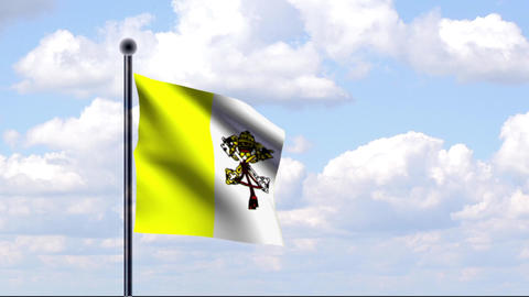 Animated Flag of Vatican City / Vatikanstadt Stock Video Footage