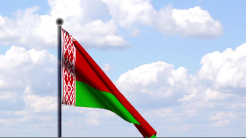 Animated Flag of Byelorussia / Weißrussland Stock Video Footage