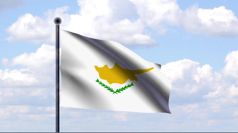 Animated Flag of Cyprus / Zypern Stock Video Footage
