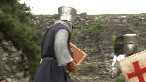 medieval crusader fighting 01 Stock Video Footage