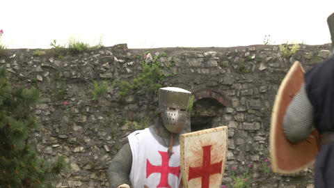 medieval crusader fighting 01 Stock Video Footage