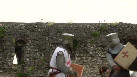 medieval crusader fighting 03 Stock Video Footage
